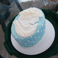 Cameo Cake Made for a 75th birthday from fondant and buttercream.