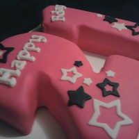 21 Cake Red velvet cake covered in pink fondant with black and white star cut outs. I cut out the 2 from a two layer 9x13 cake and the 1 from a...