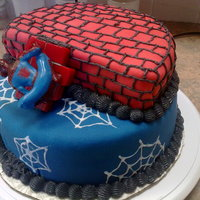 Spiderman Cake chocolate layers with buttercream, covered in fondant, buttercream trim
