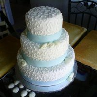 Cornelli Lace Wedding Cake. I am not a fan of fondant after this one! The shells are white chocolate. TFL. :)