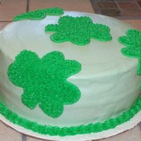 St. Patrick's Day Cake  White Cake with BC icing & cookies & cream filling. I've been reading a lot of cake decorating books & got this idea from...