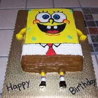 Spongebob   9x13 cake iced in BC. The legs and arms are fondant. Still practicing my writing abilities :)