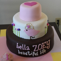Bella Zoey Chocolate WASC with cookies and cream filling bottom tier and top two tiers were raspberry truffle WASC. Covered with MMF.