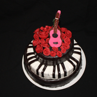 Musical Duet   A birthday cake I made for a young girl who loves all things musical. I was inspired by her actual guitar