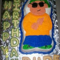 Party Dude! All buttercream. Cookies around cake,outlined in icing.