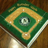 "Baseball Diamond Oakland A's Inspired white cake with strawberry filling. 14"" square buttercream piping"