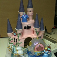 Castle 5th birthday cake for a princess tea party. cookies and cream cake. top is 6in. round and bottom is 9in. square with one corner removed...