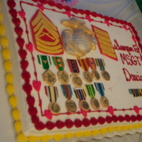 Usmc Retirement gumpaste decs on a full sheet cake for my husbands usmc 20yr retirement.