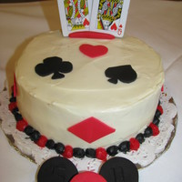 Casino Theme Red Velvet cake w/cream cheese icing. Decorative pieces are made out of fondant.