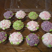 Hydrangea Cupcakes   I made these for a bride to see & taste for her upcoming wedding. She loved the flowers & the flavor.