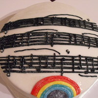 Over The Rainbow Cake This was a cake I was asked to make for a music lover! Her favourite piece of music was Over The Rainbow (which is what the sheet music is...