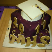 Purple And Gold Graduation purple with gold accents and rice krispie hat
