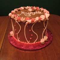 "Best Friend's Birthday   6"" all chocolate cake with pink bc sweetpeas and striping"