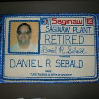"Retirement Id Badge Two 11""x15"" marble sheetcakes put together to resemble his ID badge from work. 8""x8"" edible image supplied by fellow..."
