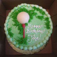 "Golf Birthday 6"" chocolate fudge cake with bc icing and white chocolate tee and ball. Made for a co-worker of my husband."