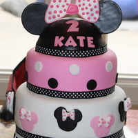 "Minnie Mouse Bd Cake For Grand Daughter  I first have to say thank you to dbranum for the inspiration to try to make her her ""Minnie Mouse"" cake for my GD birthday party..."