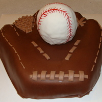 "Baseball Mitt & Baseball Field Cake I made a baseball mitt with a rkt baseball inside, and another 8"" square cake of a baseball field. The ball is a little bumpy, but I&#..."