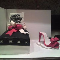 Shoe And Shoe Box Cake made for a birthday