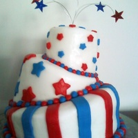 Red, White, And Blue A whimsical topsy-turvy cake. This was my first topsy-turvy cake and my first cake using fondant.