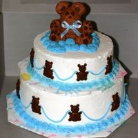 Teddy Bear The teddy bear is made of buttercream stiffened a little. All buttercream accents.