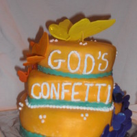 """god's Confetti"" my latest and greatest (lol) I was frustrated tonight (10-02-10) so one of my ways to vent is to decorate cakes, this is the final product..."