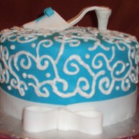 Blue And White W/ Shoe Cake Topper   My first time to make a shoe and I LOVE how it turned out!
