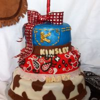 Cowgirl Birthday   red velvet w/ cream cheese icing all covered in fondant for a little girl's 1st bday party! TFL!