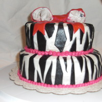 Zebra Bridal   did this as a trial cake for a bridal shower