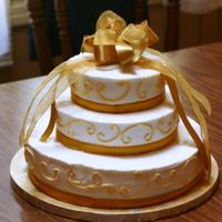 50Th Anniversary Cake buttercream and satin accents
