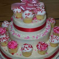 Graduation Celebration All butter cream with ribbon accents and cupcakes
