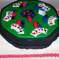 Poker Table On Card   poker table made with fondant and fondant accents on buttercream Ace