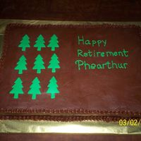 Retirement Cake-Forestry Commission Chocolate buttercream with fondant accents. A last minute cake for my cousin's boss who was retiring from the Forestry Commission. The...