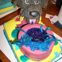 Doggie Cake This is the second cake for the doggie daycare grand opening. It is the same flavor as the other one. The dog bowl is yellow cake though....