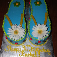 Flip Flops Cake  I made this flip flop cake for my best friend's 30th bday. Left shoe is chocolate cake with a white chocolate mousse and strawberry...
