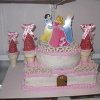 Princess Castle   Buttercream cake with sugar cones rolled in chocolate and sprinkes.