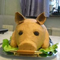 Pig   This cake was made for my husband 40th anniversary. Covered with buttecream