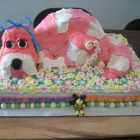 "Big Eyed Pink Puppy This cake was inspired by princesssalamander's ""puppy in the garden"" cake. Thanks again for your inspiration. I made this..."