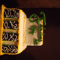 Fab At Fifty Cake My first fondant cake and a tremendous undertaking that totally did not work out! The black and white panels, outlined in gold and green (...