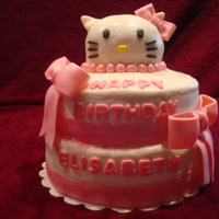 Kitty Cake My first tiered fondant cake. It was for an 8 year old girl who loves Hello Kitty.
