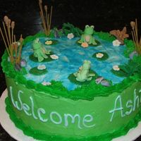 Frogsized.jpg All buttercream. Fondant frogs with raw spaghetti topped with fondant for cattails. Piping get for water effect.