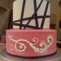 Black And Pink Shower Cake pink and black modern shower cake