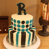 Black And Turquoise black and turquoise shower cake with modern design