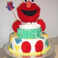 Elmo 3D 1St Birthday Cake 1st Birthday cake using RTR. Elmo's head is a foam ball purchased from a craft shop and covered in icing using a nozzel usually used...