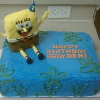 Spongebob This was a cake I just did for my nephew's second birthday and it was good practice for my first figurine. This was a marble cake with...