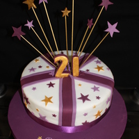 Starry Starry 21St Cake Purple, white and gold star themed 21st birthday cake