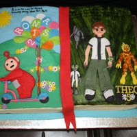 Book Cake- Teletubbies And Ben 10 This was an interesting order! The cake was a for a 2 year old girl and a 5 year old boy. The mother wanted one cake but incorporating 2 (...