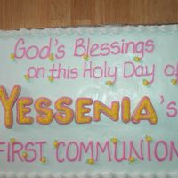 "First Communion   I used a ""Z"" for the ""N"" in her name, turned it sideways!"