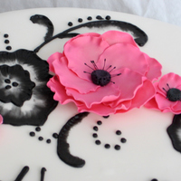 Black, White & Pink Birthday Cake