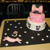 Minnie Mouse  Cake is chocolate with buttercream frosting. Bows, minnie mouse silhouettes, polka dots, and minnie hat are made of fondant. They were made...