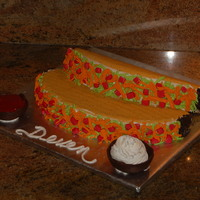 Taco Cake These are tacos one yellow cake and one was chocolate.